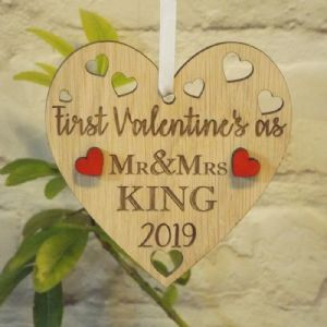 First 1st Valentine's as Mr & Mrs Married Personalised Heart Decoration Gift